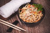 Chicken Udon Noodles In Bowl
