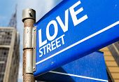 Love Street blue road sign