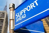 Support Ahead blue road sign