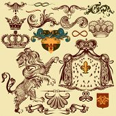 Set Of Vector Heraldic Elements For Design