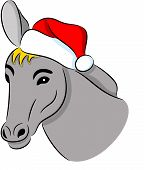 stock photo of headstrong  - Vector illustration of a donkey in Christmas hat - JPG