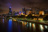 Melbourne Skyline Along The Yarra River At Dusk.