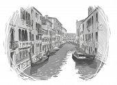 Venice canal vector sketch