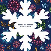 Vector holiday fireworks Christmas snowflake silhouette pattern frame card template