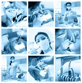 Dentist Collage With Different Views At Clinic