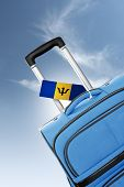 Destination Barbados. Blue Suitcase With Flag.