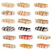 Set of sushi fresh rolls isolated