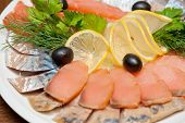 The set marinated mackerel, herring fillet, and salmon