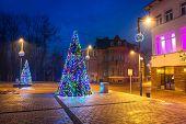 ZAKOPANE, POLAND - DECEMBER 6, 2014: Christmas decoration on the street in Zakopane. City center of Zakopane is the main shopping area with pedestrian promenade in Tatra mountains.