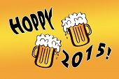 Hoppy 2015 with two mugs of beer - a witty play of words wishing beerful new year