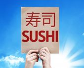 Sushi card with beautiful day