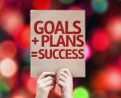 Goals + Plans = Success card with colorful background with defocused lights