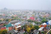 top view of a foggy town