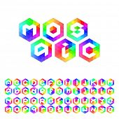 Triangle mosaic font for icons in web and apps. Upper case and lower case.