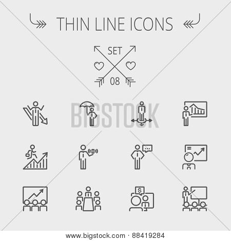 Business thin line icon set for web and mobile. Set includes- people, wifi, arrows, money, umbrella