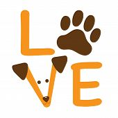 stock photo of puppy dog face  - A graphic of the word love showing a dog paw and a dog - JPG
