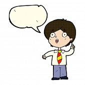 stock photo of schoolboys  - cartoon schoolboy answering question with speech bubble - JPG