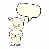 stock photo of bear-cub  - cartoon teddy polar bear cub with speech bubble - JPG