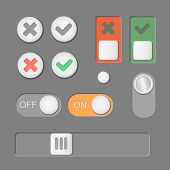 foto of toggle switch  - Vector Toggle switch icons dark background - JPG