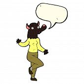 image of werewolf  - cartoon dancing werewolf woman with speech bubble - JPG