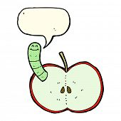 picture of worm  - cartoon apple with worm with speech bubble - JPG