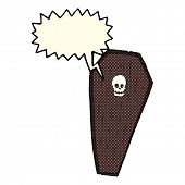 pic of coffin  - spooky cartoon coffin with speech bubble - JPG