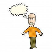 stock photo of annoying  - cartoon annoyed old man with speech bubble - JPG