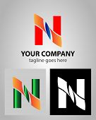 stock photo of letter n  - Vector illustration of abstract icons based on the letter N logo - JPG