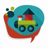 stock photo of cylinder pyramid  - Train Toy Flat Icon With Long Shadow - JPG