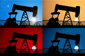 stock photo of  rig  - Sunrise and oil rig - JPG