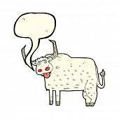picture of hairy  - cartoon hairy cow with speech bubble - JPG