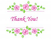stock photo of polite  - Thank you card with beautiful pink roses isolated on white background - JPG