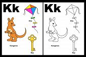 stock photo of letter k  - Kids alphabet coloring book page with outlined clip arts to color - JPG