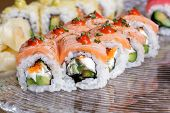 stock photo of sushi  - Colorful sushi rolls - JPG