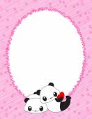 foto of panda bear  - Pink oval frame with hearts and cute panda bears - JPG