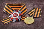 foto of victory  - Soviet military medal in honor of a victory in war against Germany 1941 - JPG