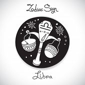picture of libra  - Libra zodiac sign of horoscope circle emblem in cartoon style - JPG