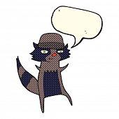 stock photo of raccoon  - cartoon raccoon with speech bubble - JPG