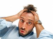 image of crazy face  - Stressed man tear his hair out crazy face expression isolated on white - JPG