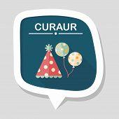 picture of birthday hat  - Birthday Party Hat Flat Icon With Long Shadow - JPG