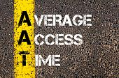 picture of average looking  - Business Acronym AAT as Average Access Time. Yellow paint line on the road against asphalt background. Conceptual image - JPG