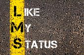 stock photo of status  - Social Media Acronym LMS as LIKE MY STATUS.