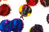 picture of indigo  - Color red orange yellow green blue indigo violet ink stain on a white background - JPG