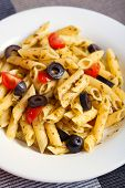 picture of black-cherry  - Penne with cherry tomatos and black olives fried with fresh herbs - JPG