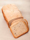 image of home-made bread  - Home made white bread shot from above - JPG
