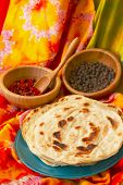 picture of flat-bread  - Indian flat bread and spices from market