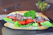 picture of baguette  - Healthy Tuna Baguette With Lettuce - JPG