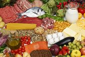 stock photo of vegetable food fruit  - Assorted food vegetables fruit meat fish dairies - JPG