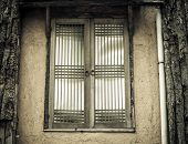 stock photo of abandoned house  - Old window in abandoned house building vintage - JPG