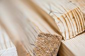 pic of lumber  - Wooden beams and planks. Lumber stacked at construction site